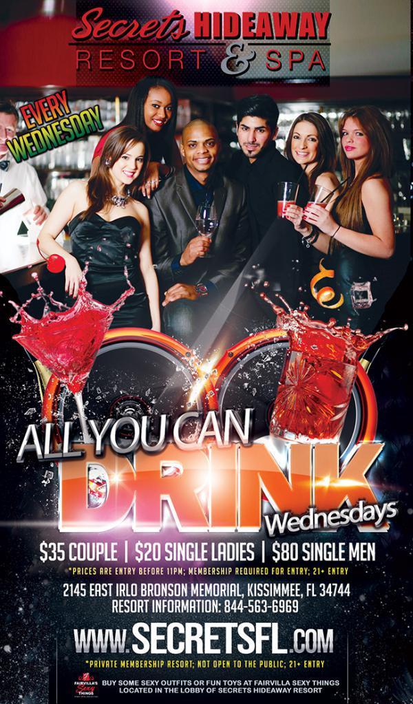 All U Can Drink Wednesday - Secrets Hideaway-Jun 17, 2020 SDC.com