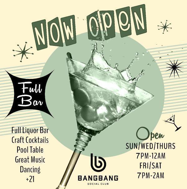 Bang Bang Social Club is now open--Jun 18, 2020 SDC.com