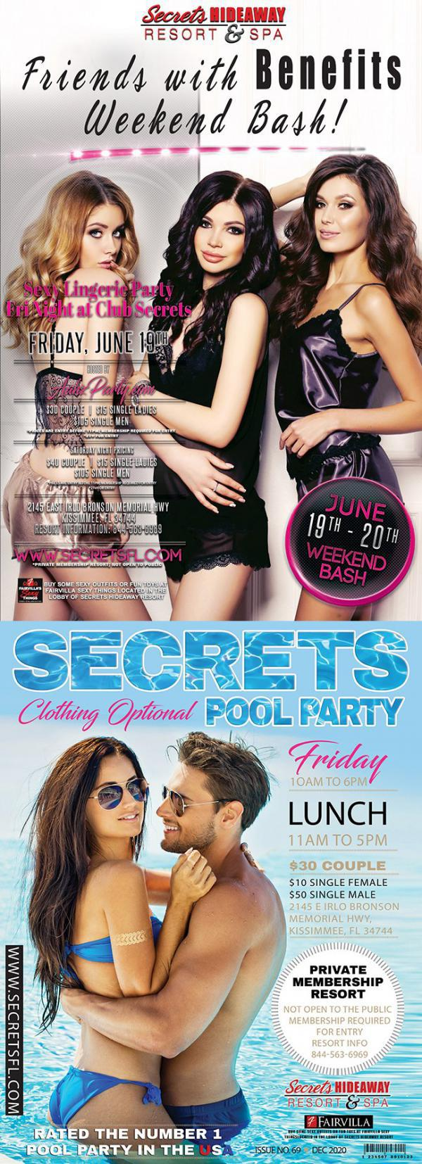 Friday Pool Party AND Sexy Lingerie Friends with Benefits Weekend - Secrets Hideaway-Jun 19, 2020 SDC.com