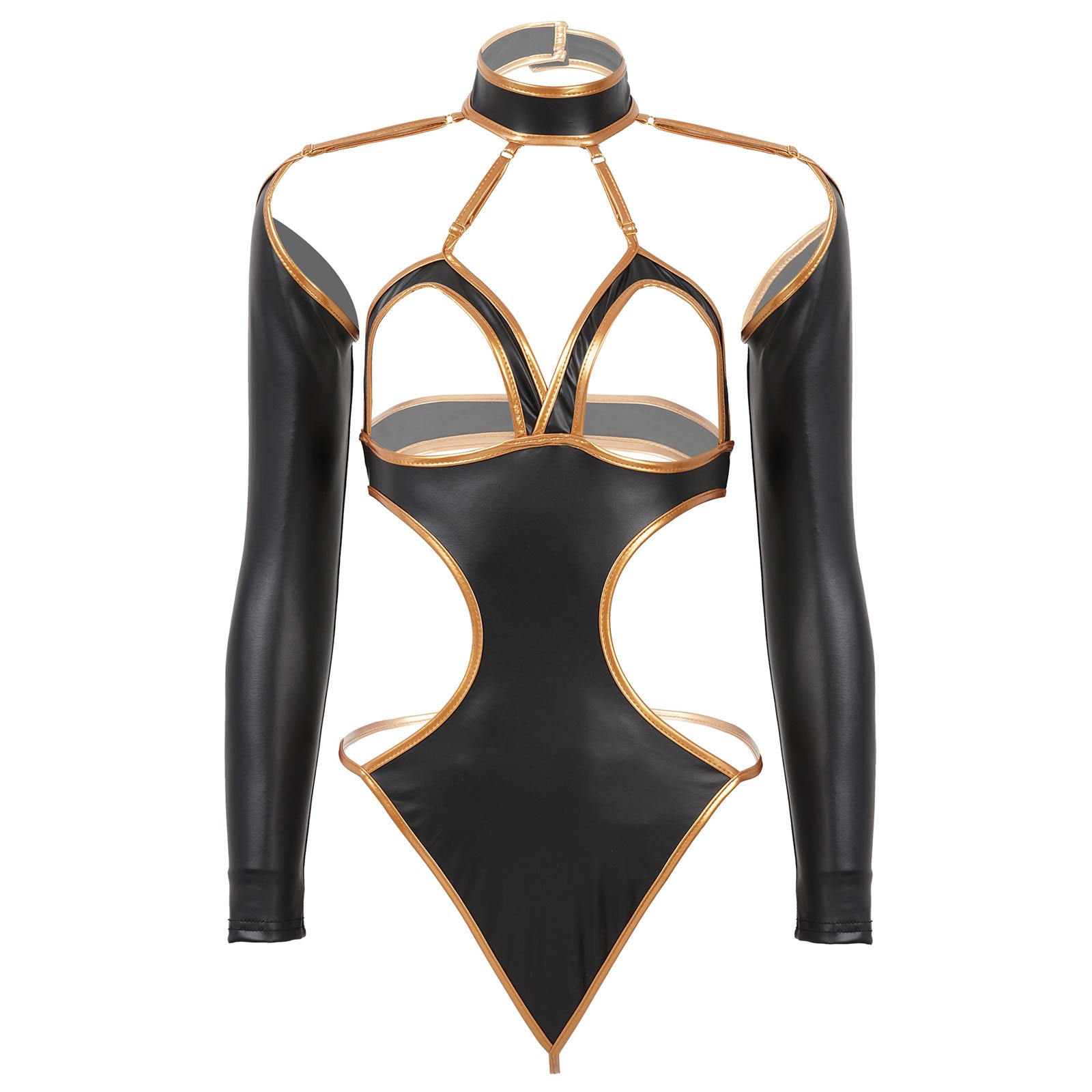 Womens Sexy Lingerie Bodysuit Patent Leather Sheer Hollow Out Halter Neck Open Cup Hot Bra Cutout Catsuit Clubwear