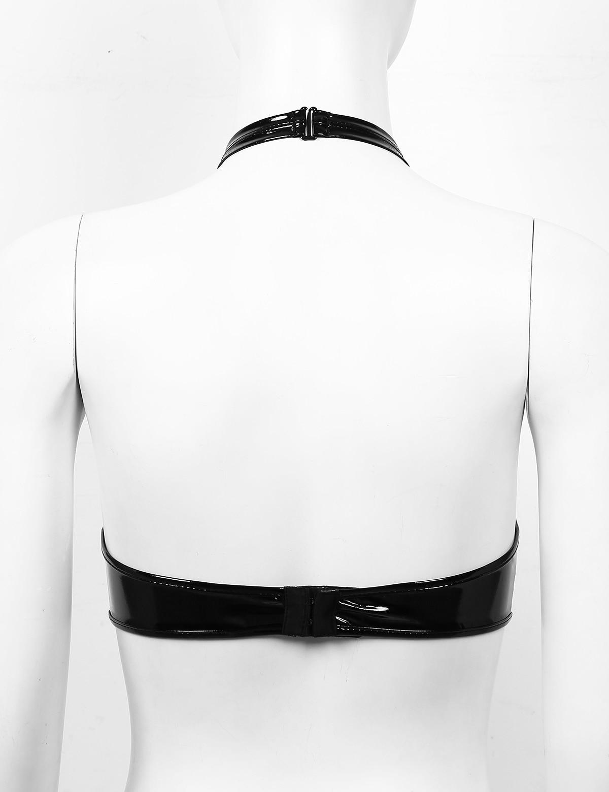 Sexy Lingerie Open Bra Bralette Harness Top Women's Latex Bra Halter Neck Wet Look Leather Backless Wire-free Shelf Bra Clubwear