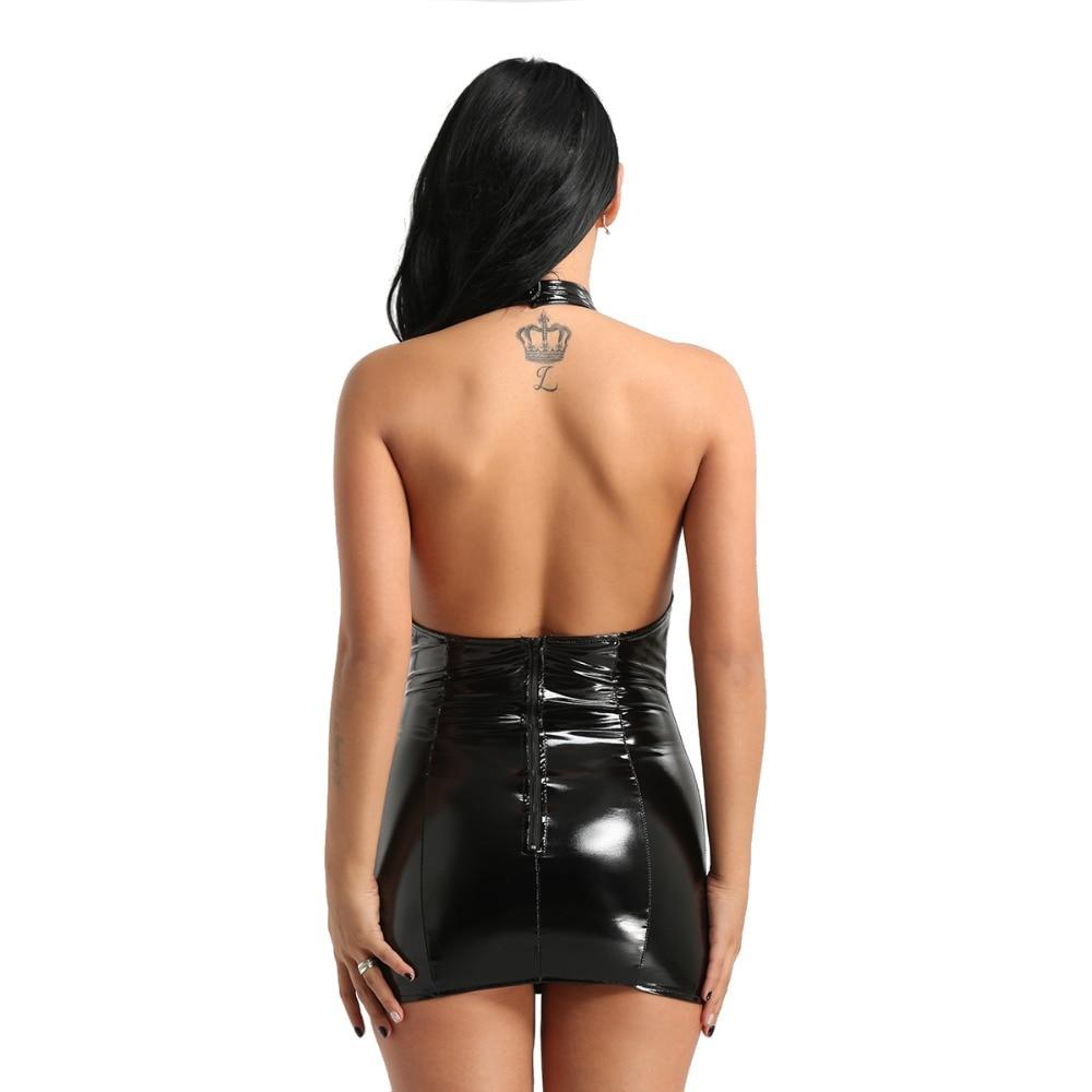 YiZYiF Women Sexy Clubwear Dress Wet Look Faux Leather dress Halter Neck Open Cup Tassels Bodycon Mini Dress sissy sexy lingerie