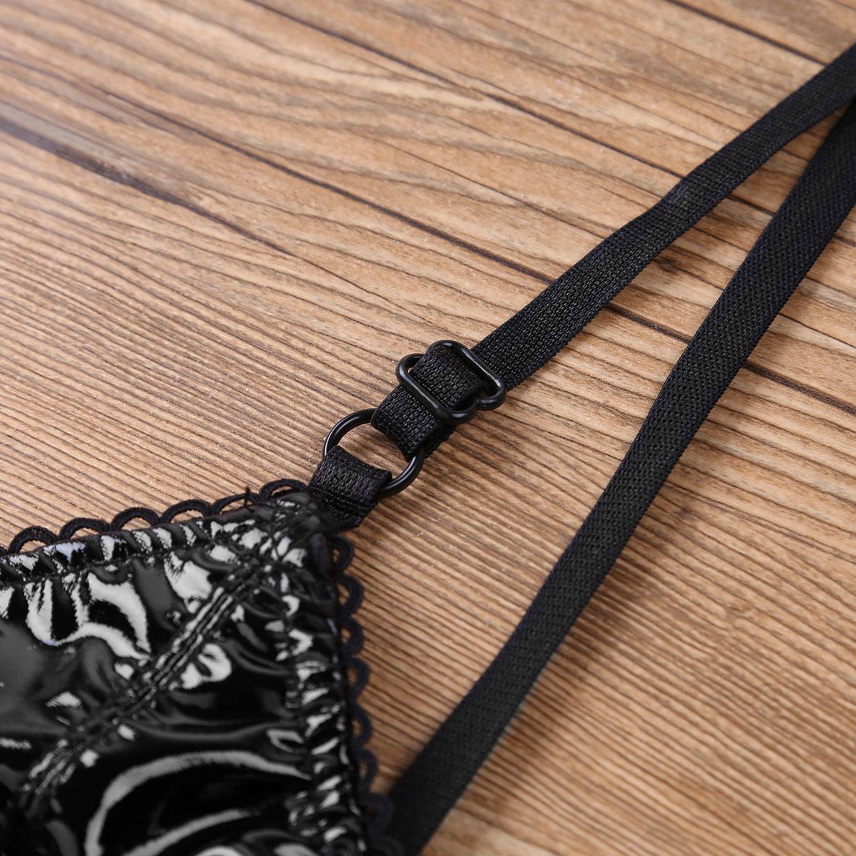 iiniim Womens Adjustable Spaghetti Straps Open Cup Bra Hole Lingerie Clubwear Faux Leather Vintage with Nipple Splits Bra Top