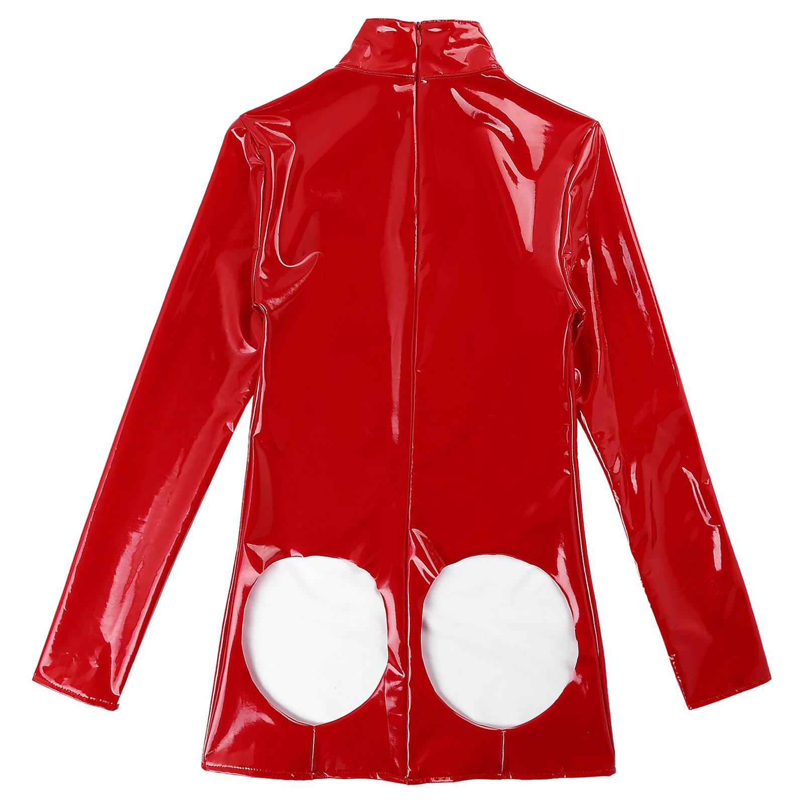 Womens Lingerie Bodysuit Wet-Look Patent Leather Stand Collar Bare Breast Open Cup Open Butt Zipper Mini Dress Ladies Clubwear