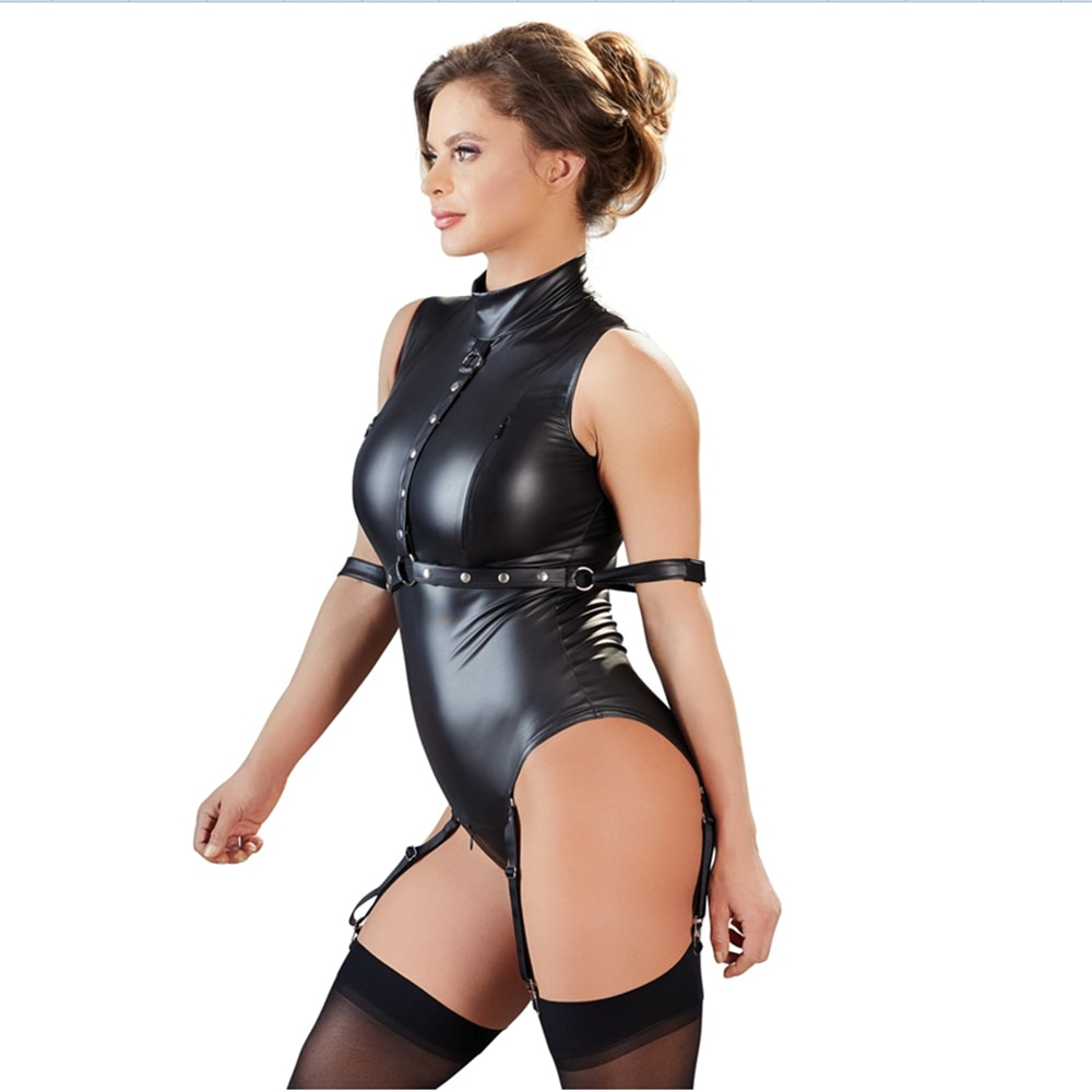 Women sexy leather catsuit zipper crotch bodysuit open cup pole dance night clubwear erotic SM bondage slutty clothes for sex