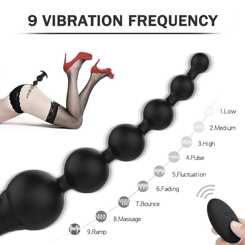 Extended Vibrator Anal Pull Beads USB Magnetic Charging Anal Plug 9 Kinds Of Vibration G-Spot Stimulate Adult Gay Toys