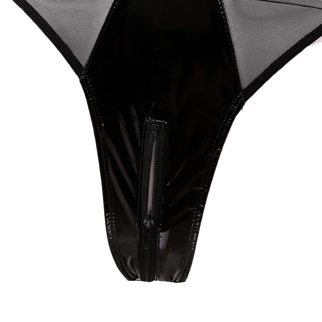 Sexy Faux Leather Catsuit Latex Bodysuit Hollow Out Bust Open Crotch Clubwear Fetish Hot Erotic Pole Dance Lingerie Bodysuit