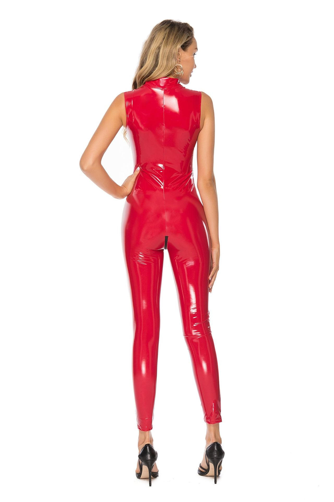 Plus Size S-5XL Women Sexy PVC Latex Catsuit Sleeveless Leather Bodysuit Zipper Crotch Open Cup Sexy Costumes Wet Look Clubwear