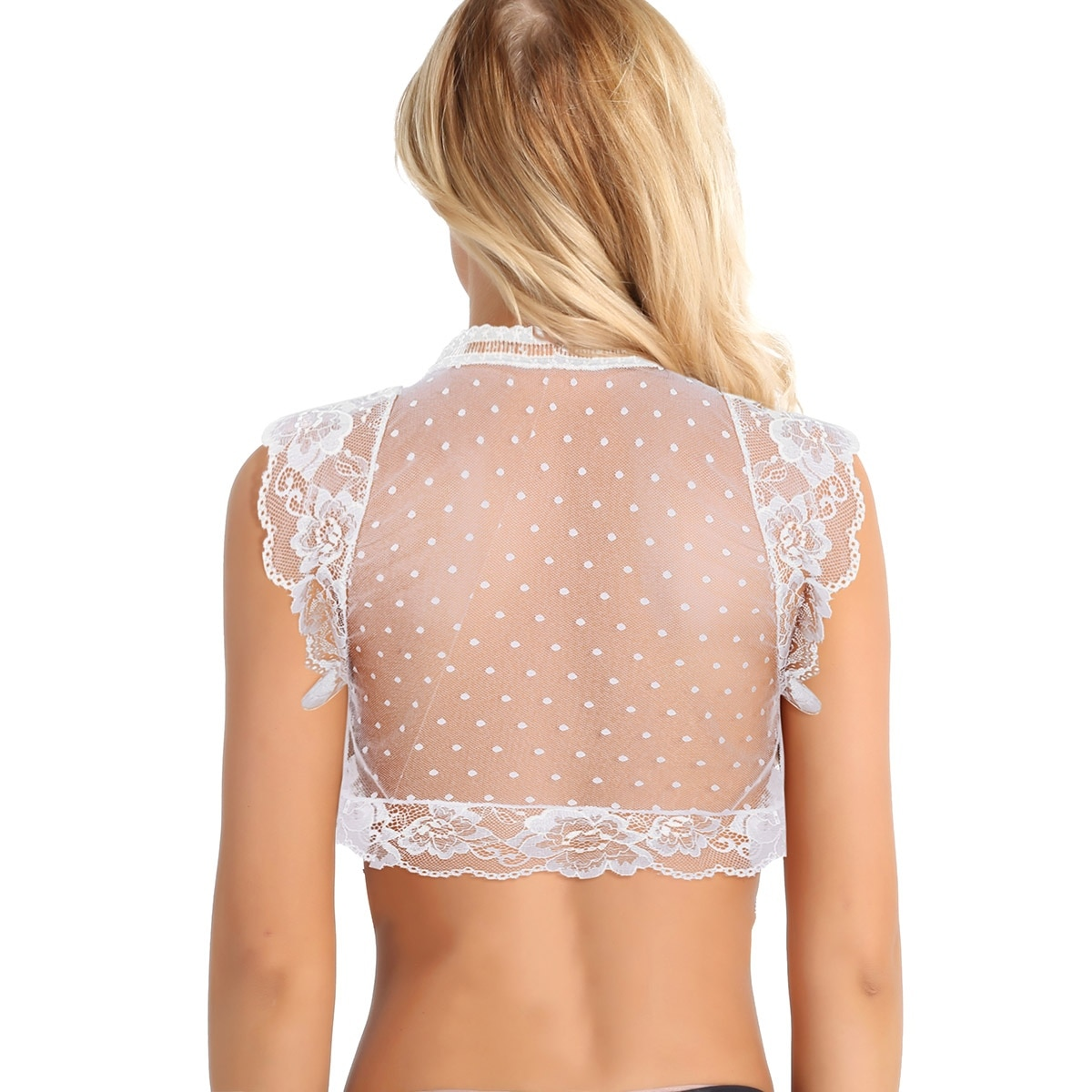 iEFiEL Womens Soft Mesh Open Front See Through Lingerie Floral Lace Bralette Cup Wireless Bra Tank Tops Sexy Clubwear Tank Tops