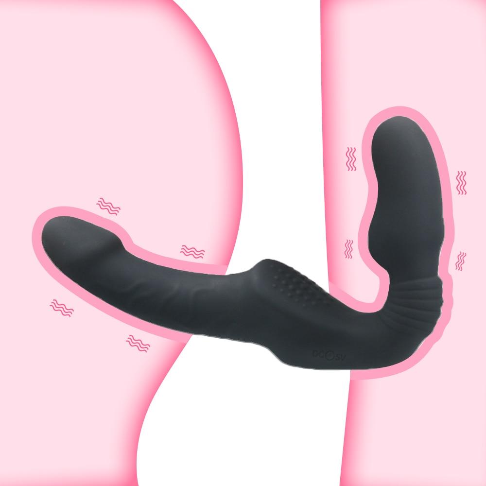 10 Speeds Strapless Strapon Dildo Vibrator Female Double Vibrating G Spot Adult Sex Toys for Women Couple Anal Prostate Massager