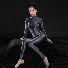 Plus Size Sexy Full Body Bodysuit Hoge Elasitc Clubwear Sheer Glad Broek Olie Gloosy Sexy Strakke Vormgeving Snoep Kleur F37