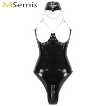 Women Porno Pole Dance Bodysuit Clubwear Erotic Rave Patent Leather Thong Leotard Open Cups Low Back Zipper Crotch Latex Catsuit