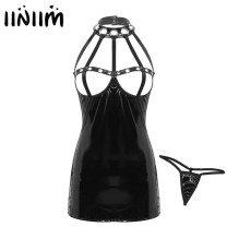 Womens Punk Gothic Sexy Dress Harness Straps Caged Open Cup Leather Bodycon Mini Dress with G-string Briefs for Party Clubwear