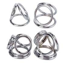 Stainless Steel Cockring Male Chastity Device Bondage Penis Scrotum/Testicle  Stretcher Lock Sperm Metal Cock Ring Adult Sex Toy