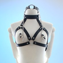 sex tools for couples Faux Leather Choker Collar With Nipple Breast Clamp Clip Chain Couple BDSM Bra Harness Chest Straps Women
