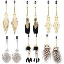 1 Pair Feather Metal Bells Nipple Clamps SM Nipple Ring Flirting Teasing Sex toys Bondage Kit Slave Bdsm Girl Exotic Accessories