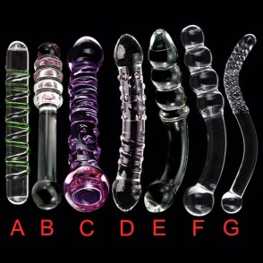 YUELV 7 Style Double Head Crystal Artificial Penis Pyrex Glass Dildo For Women Masturbate Cock Anal Butt Plug Adult Sex Toys