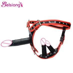 Belsiang Removable Strapon Double Harness Dildo Anal Lesbian Strap On Dildo Chastity Belt Pants Sex Shop Sex Toys For Woman